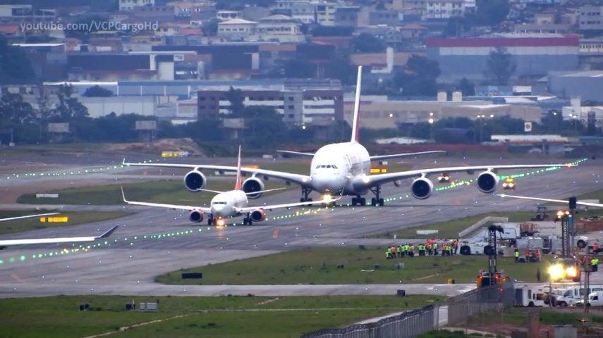 Comparación Airbus A380 con avión más oequeño.
